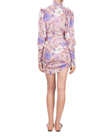 Kartagena Long-Sleeve Floral-Print Ruched Silk Dress