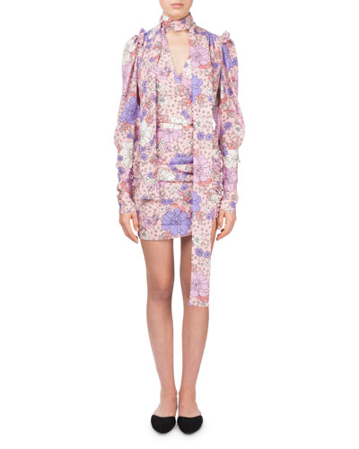 Kartagena Long-Sleeve Floral-Print Ruched Silk Dress