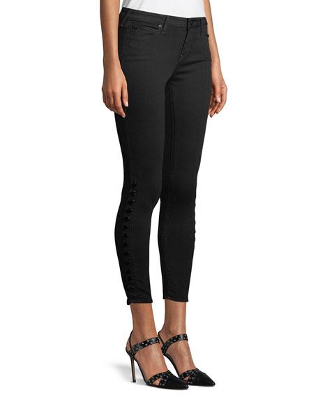 Halle Side-Snap Skinny-Leg Ankle Jeans