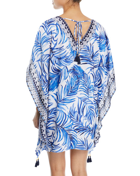 Double V-Neck Palm-Printed Tunic with Tassel Ties