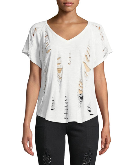 Distressed V-Neck Short-Sleeve Cotton Tee