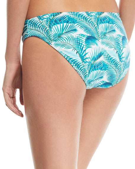 Reversible Side-Shirred Hipster Swim Bikini Bottoms