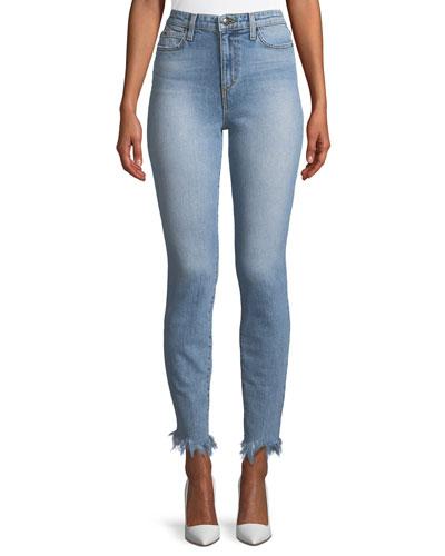 Charlie High-Rise Skinny Jeans w/ Frayed Hem