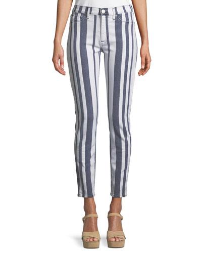 Barbara High-Waist Super Skinny-Leg Ankle Striped Jeans