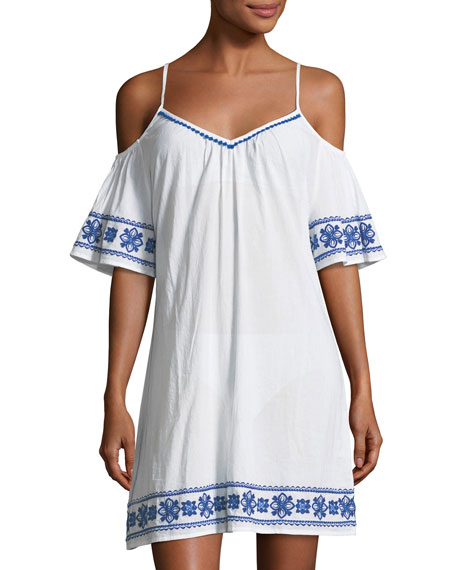 Tommy Bahama Cold-Shoulder Cotton Dress with Embroidery