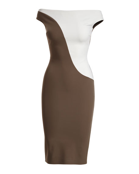 Shaili Two-Tone Off-the-Shoulder Cocktail Dress