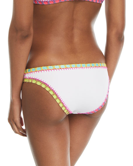 Crochet-Trim Scoop Swim Bikini Bottom, White