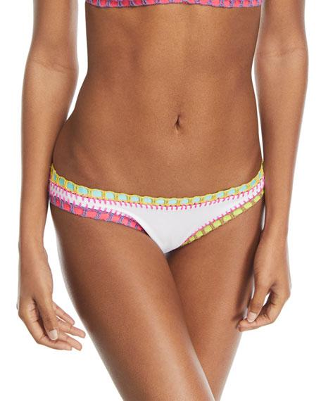 Crochet-Trim Scoop Swim Bikini Bottom, White
