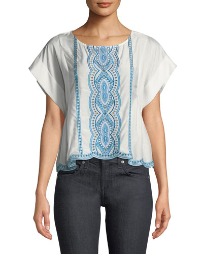 Embroidered Scalloped T-Shirt