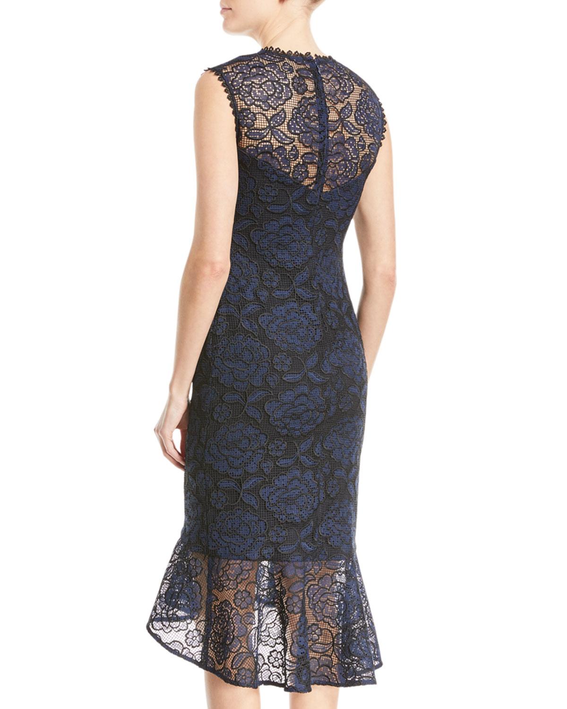 08b914906e50 Shoshanna Reika Sleeveless High-Low Lace Dress   Neiman Marcus