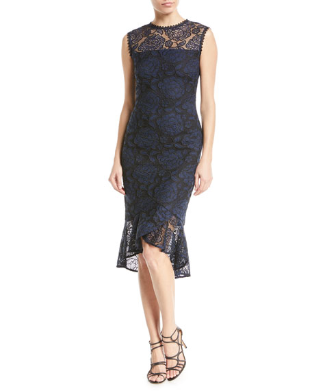 Shoshanna Reika Sleeveless High-Low Lace Dress