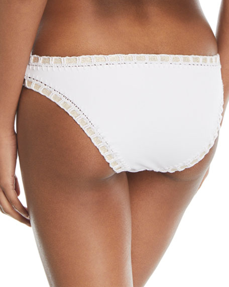 Crochet-Trim Scoop Swim Bikini Bottom, White/Gold