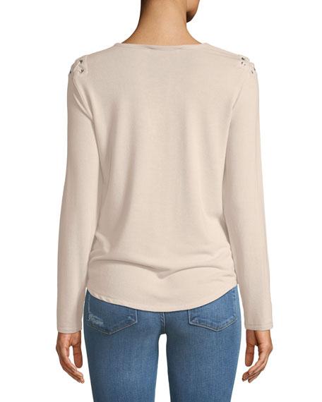 Vivi Long-Sleeve Lace-Up Top