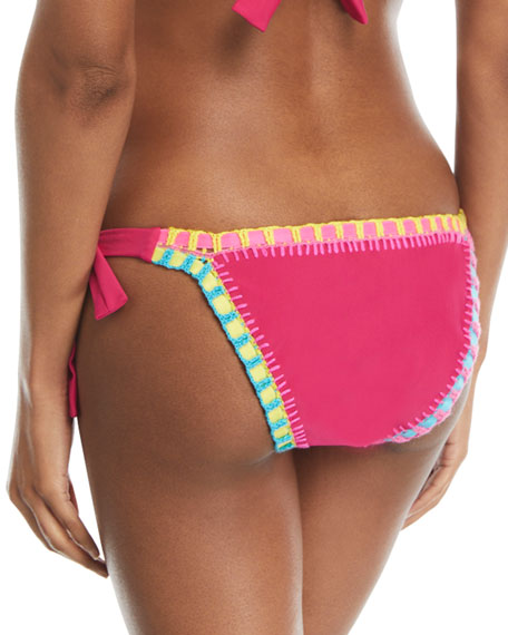 Crochet-Trim Side-Tie Swim Bikini Bottom, Magenta