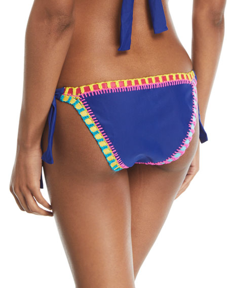 Crochet-Trim Side-Tie Swim Bikini Bottom, Blue