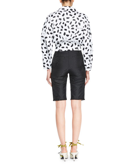 Convertible Puff-Sleeve Dot-Print Blouse