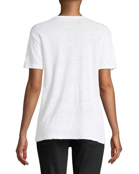 Amber Love Is Crewneck Short-Sleeve Linen T-Shirt