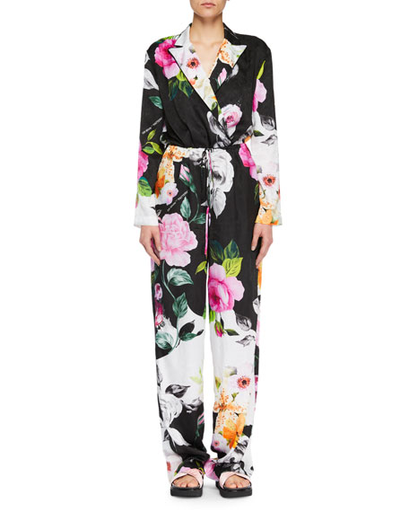 Long-Sleeve Floral-Jacquard Wide-Leg Silk Jumpsuit