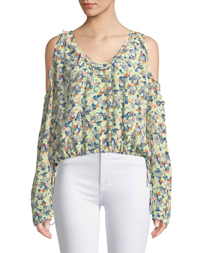 Tea Flower Cold-Shoulder Long-Sleeve Silk Top