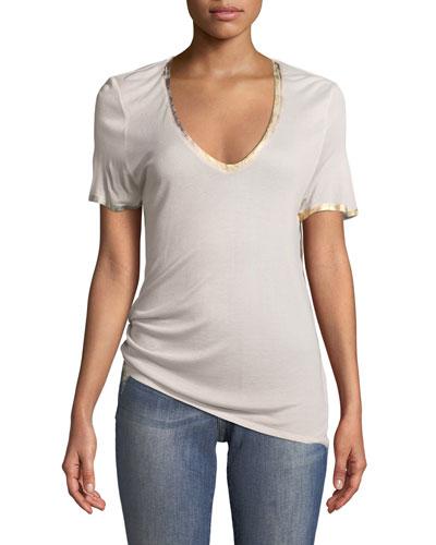 Tino V-Neck Short-Sleeve Foil T-Shirt