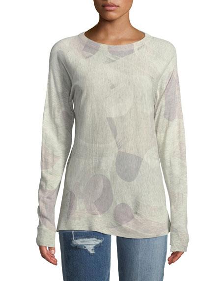 Crisp Camo-Print Crewneck Long-Sleeve Cashmere Sweater
