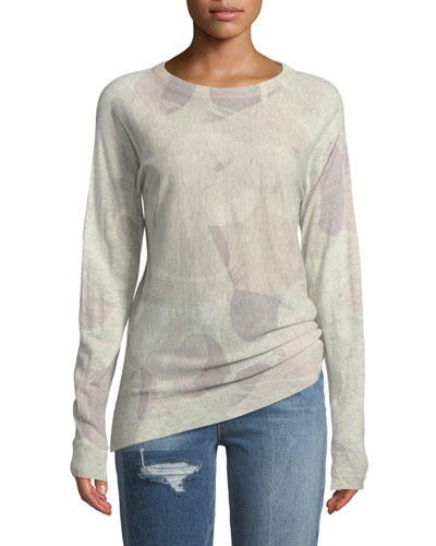 Crisp Camo-Print Crewneck Long-Sleeve Cashmere Sweater