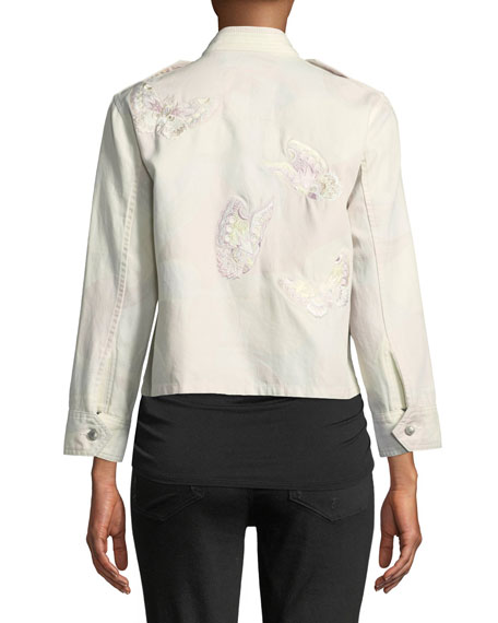 Kavy Zip-Front Camo-Print Jacket with Butterfly Embroidery