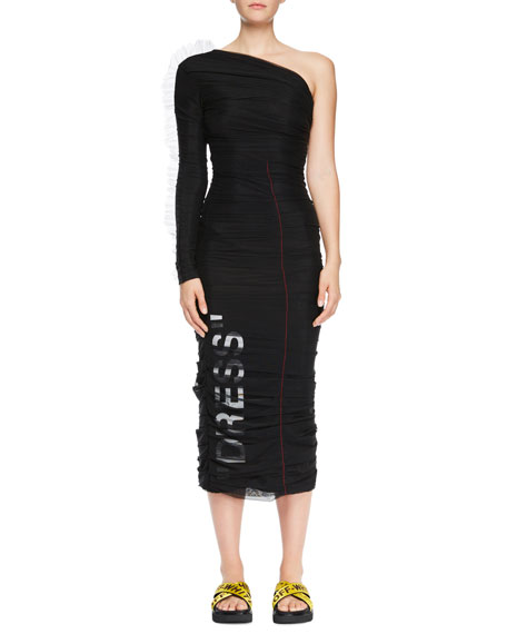 One-Shoulder Ruched Tulle Dress with Print
