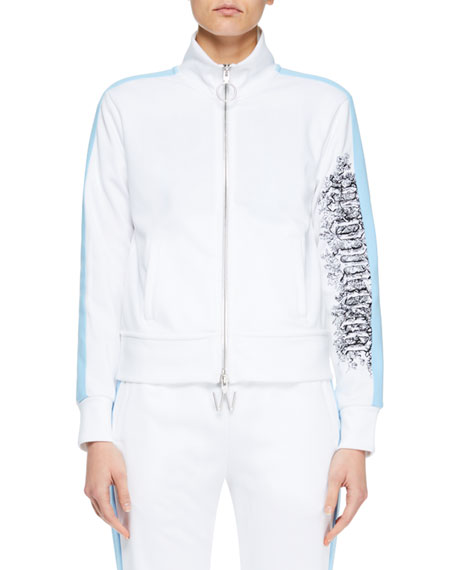 Zip-Front Track Jacket With Side Stripes, White