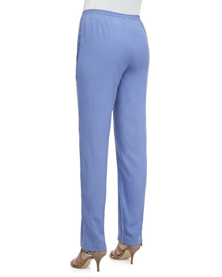 Solid Silk Pants, Blue, Petite