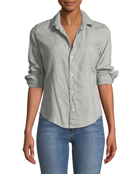 Barry Button-Front Long-Sleeve Cotton Shirt