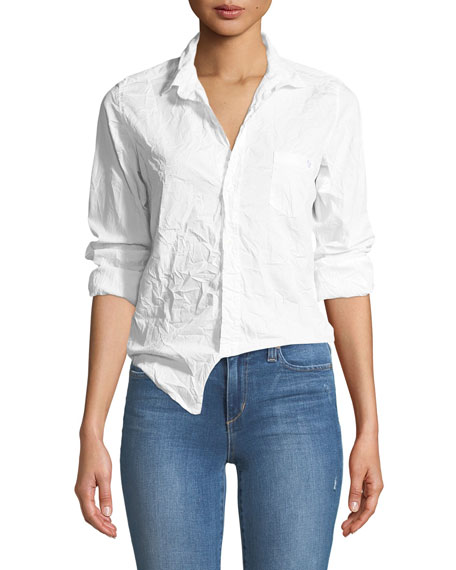 Frank & Eileen Barry Button-Front Crinkled Cotton Shirt