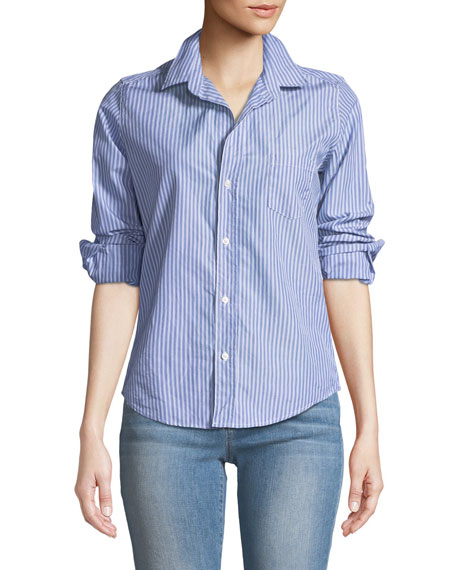 Barry Button-Front Long-Sleeve Striped Shirt