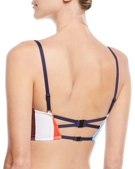 Ava Structured Striped Bustier Swim Top