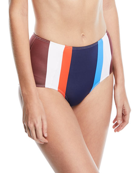 Mei L'ange Ava High-Waist Striped Swim Bikini Bottoms