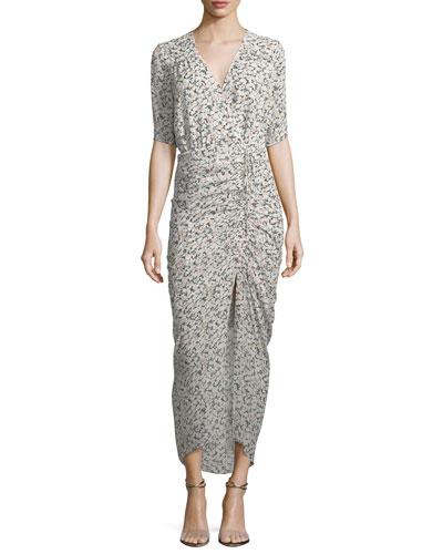 Mariposa Wrap Silk Midi Dress