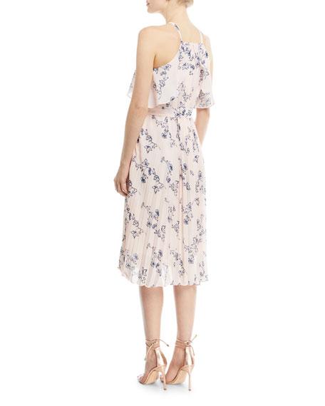 Floral-Print Halter Cocktail Dress
