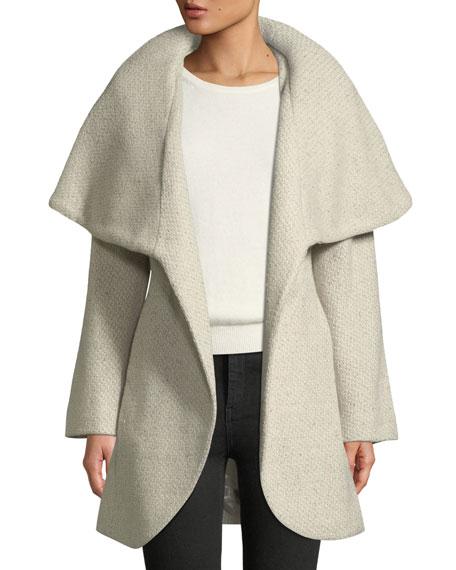 Marla Wool-Blend Tweed Wrap Coat