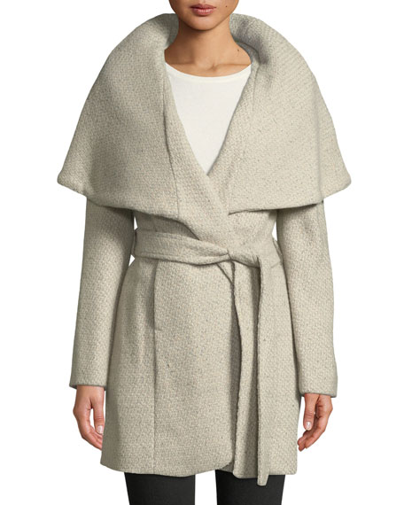 Marla Wool-Blend Tweed Wrap Coat