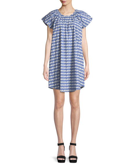 Flutter-Sleeve Printed Cotton Dress