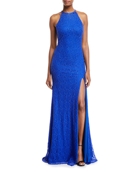 Jovani Beaded Cutout-Back Halter Gown