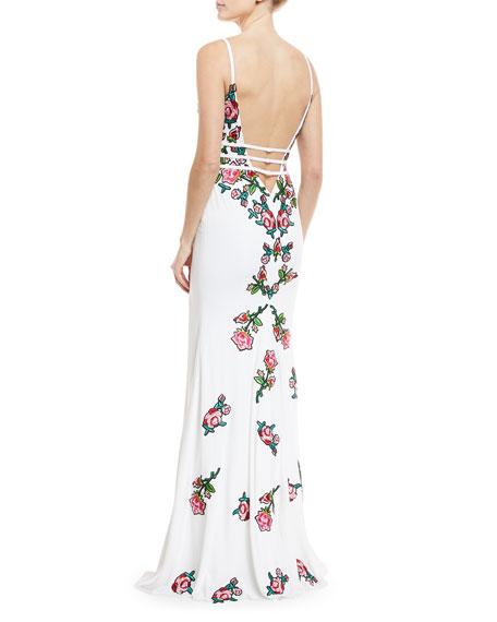 Multi-Floral Embellishment Open-Back Dress