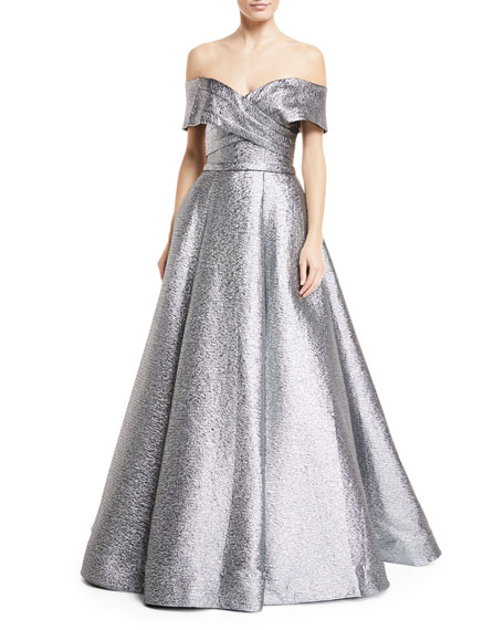 Jovani Metallic Off-the-Shoulder Ball Gown