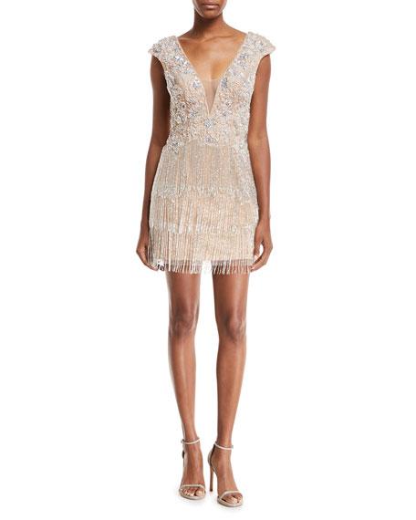 Jovani Metallic V-Neck Illusion Dress w/ Fringe Skirt
