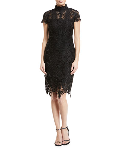 black lace v neck dress