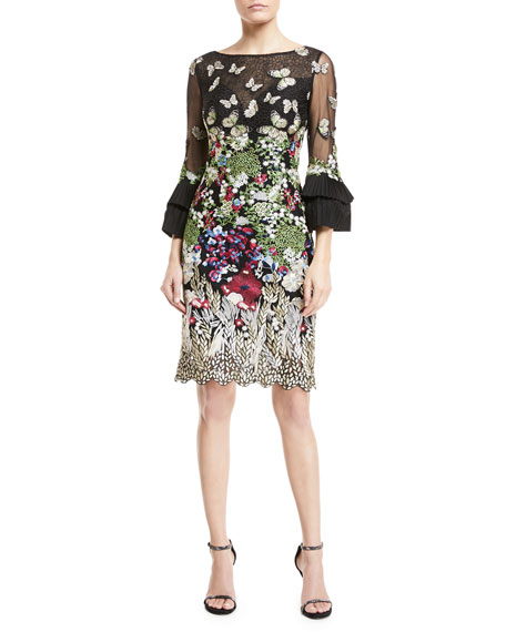 Jovani Butterfly-Embroidered Lace Trumpet-Sleeve Dress