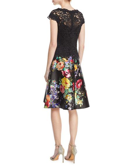 Illusion Lace Cocktail Dress w/ Floral-Print Satin Skirt