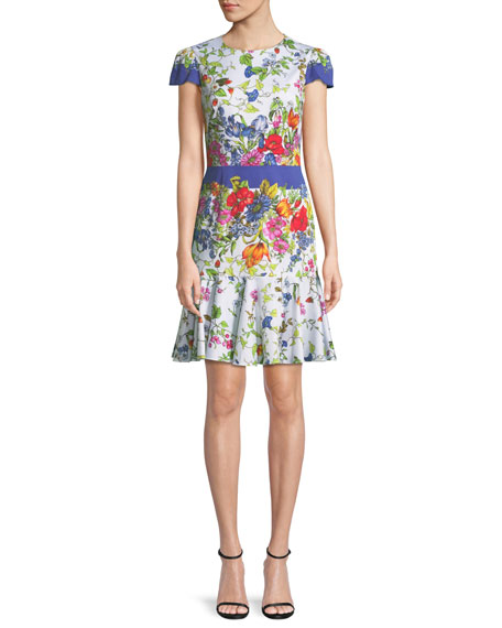 Milly Karissa Floral-Print Short-Sleeve Cotton Dress