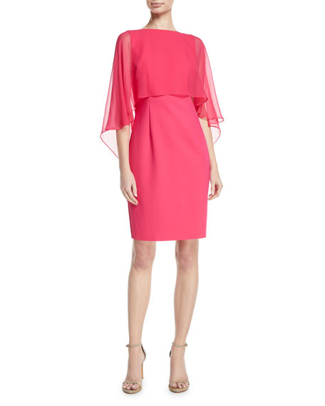 Rickie Freeman for Teri Jon Silk Chiffon Cape-Sleeve