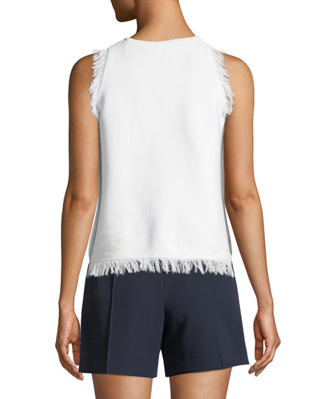 Fringe-Trim Sleeveless Top